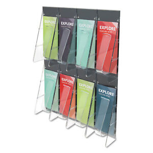 Stand tall 8 bin Wall mount Literature Rack Leaflet 18 25 X 23 5 Clear black