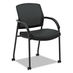 Lota Series Mesh Guest Side Chair Black Fabric Black Base