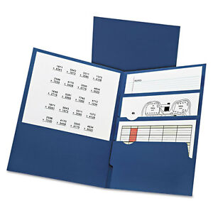 Divide It Up Four pocket Paper Folders 11 X 8 1 2 Navy 20 box