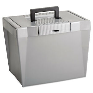Portable File Storage Box Letter Plastic 13 1 2 X 10 1 4 X 10 7 8 Steel Gray