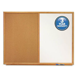 Bulletin dry erase Board Melamine cork 36 X 24 White brown Oak Finish Frame