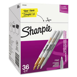Metallic Permanent Markers Office Pack Fine Gold silver bronze 36 pk