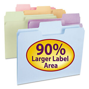 Supertab File Folders 1 3 Cut Top Tab Letter Assorted Colors 100 box