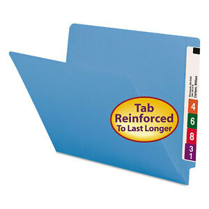 Colored File Folders Straight Cut Reinforced End Tab Letter Blue 100 box
