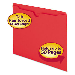 Colored File Jackets W reinforced 2 ply Tab Letter 11pt Red 100 box