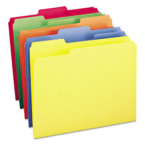 File Folders 1 3 Cut Top Tab Letter Bright Assorted Colors 100 box