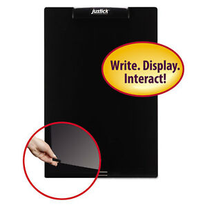 Justick Frameless Electro surface Dry erase Board W clear Overlay 16 X 24 Bk