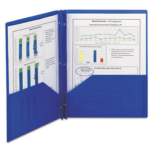 Poly Two pocket Folder W fasteners 11 X 8 1 2 Blue 25 box