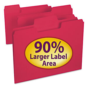 Supertab Colored File Folders 1 3 Cut Letter Red 100 box
