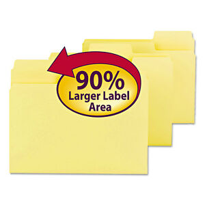 Supertab Colored File Folders 1 3 Cut Letter Yellow 100 box