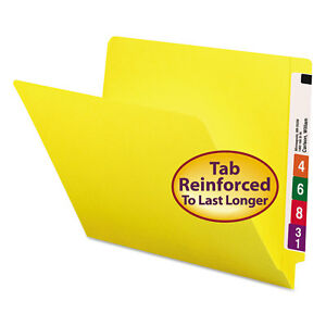 Colored File Folders Straight Cut Reinforced End Tab Letter Yellow 100 box