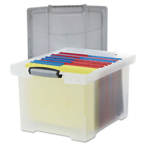 Portable File Tote W locking Handle Storage Box Letter legal Clear