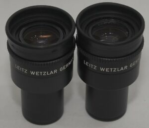 Leitz 519750 Periplan 10x 18 M Microscope Eyepiece Set One W Cross Hair Reticle