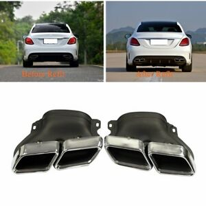 Exhaust Modified Muffler Pipe Dual Tips Tail For Mercedes Benz C Class W205