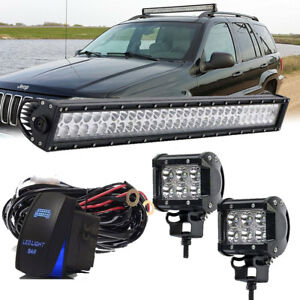 For Jeep Grand Cherokee 1999 2004 Upper Roof 32 Led Light Bar Pods Wiring Kit