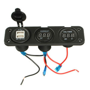 Usb Charger Dual Ports Digital Led Car Ammeter 10a Voltmeter Dc 30v Meter Gauges