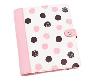 Kikki k New In Box Medium Leather Pink Brown Polka Dot Organizer Planner