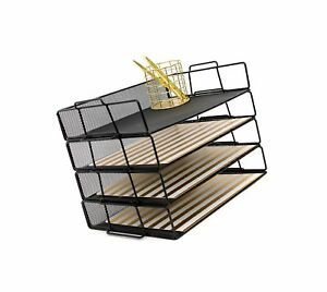 Blu Monaco Desk Organizers And Accessories Stackable Paper Tray 4 Tier