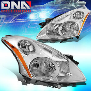 For 2010 2012 Nissan Altima Sedan Oe Chrome Housing Amber Side Headlight Lamps