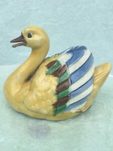 Chinese Antique Famille Rose Porcelain Duck Or Goose Statues