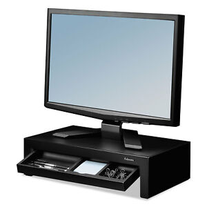 Adjustable Monitor Riser With Storage Tray 16 X 9 3 8 X 6 Black Pearl