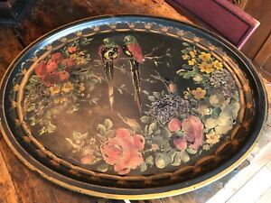 Antique Toleware Large Tray Tin Lovebirds Floral 28 5 Tole Paint Decorated