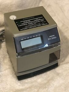 Amano Pix 3000x 3000xn Time Stamp Clock Electronic Time Recorder