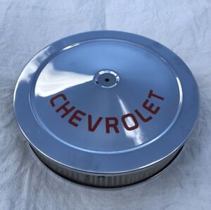 Chevrolet Chrome Air Cleaner Logo Black Silk Screen Not A Decal 14x3 Holley Carb