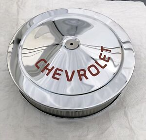 Chrome Air Cleaner Chevrolet Red Logo Silk Screen Not A Decal 14x3 Quadrajet 4bl