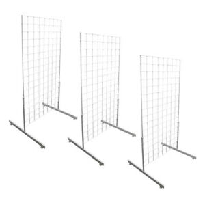 3 White Gridwall Panel 4 Ft Tall Wire Grid Shelving Board T leg Retail Display
