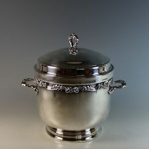 Ornate Wallace Silver Plated Ice Bucket W Lid Silverplate