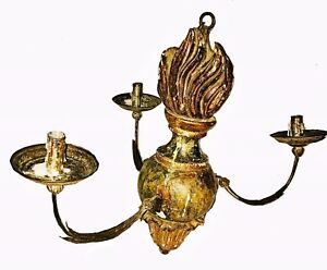 17th 18th Century Handcarved Painted Wooden Chandelier 3 Removable Branches