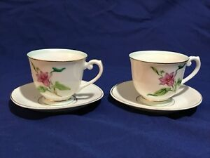 Lot 2 Vintage Albion China Made Japan Teacup Saucers Gold Trim Demitasse