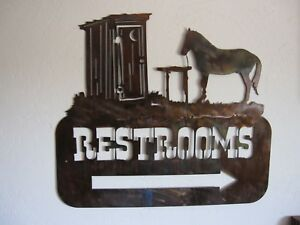 Western Outhouse Restroom Sign With Arrow By Hgmw