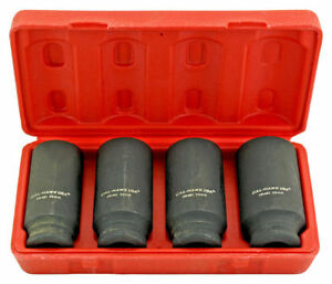 4pc 1 2 Dr 6pt Metric Spindle Axle Nut Deep Impact Socket Set Crmo Steel 6 Point