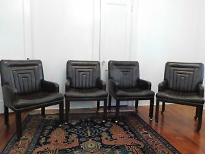 Vintage John Widdicomb Co Brown Leather Chairs Set Of Four