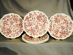 Antique Copeland Spode Red Transfer Flowers Pattern Dinner Plates 10 C1925 1926
