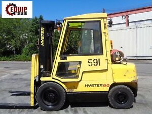Hyster H60xm 6 000lbs Boom Truck Forklift Triple Mast Enclosed Cab Propane