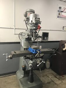 9 X 42 2hp Late Model Bridgeport Vertical Milling Machine With Newall Dro
