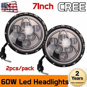 2x 7 led Halo Angel Eyes Headlight 60w Headlamp Fits Jeep Wrangler Jk Tj Cj5 7