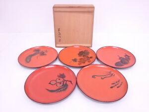 3774209 Japanese Tea Ceremony Red Lacquered Sweets Plate Set Of 5 Fruits Set
