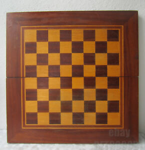 19 Antique Vintage Wooden Inlay Checkerboard Game Board Box Chess Backgammon