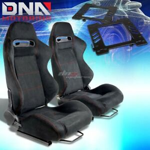 For 99 04 Mustang Sn 95 Bracket Type R Black Suede Racing Seat Reclinable X2