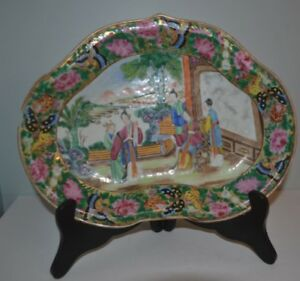 Antique Chinese 19th Century Cantonese Rose Medallion Oval Dish