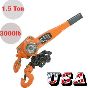 1 5ton 3000lb Capacity Chain Lever Block Hoist Come Along Ratchet Lift Pull Good