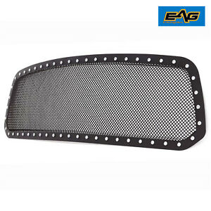 Eag 13 18 Dodge Ram 1500 Hood Mesh Grille Grill With Rivet Black Stainless Steel