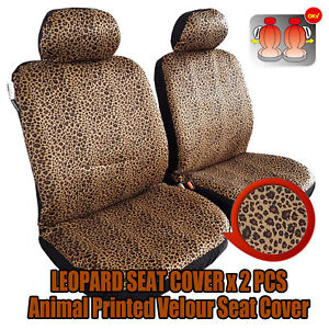 New 2pcs Front Leopard Velour Car Seat Covers For Tundra Tacoma Frontier