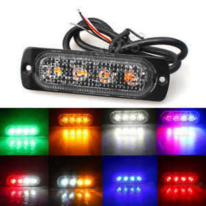 4led Strobe Warning Flash Traffic Beacon Light Blue Amber White Red Green 12v 36