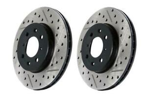 Stoptech Slotted Drilled Front Brake Rotors For 03 06 Evolution Evo 8 9
