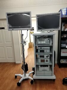 Stryker 1488 Hd Dual Monitor Endoscopy Tower O r Camera